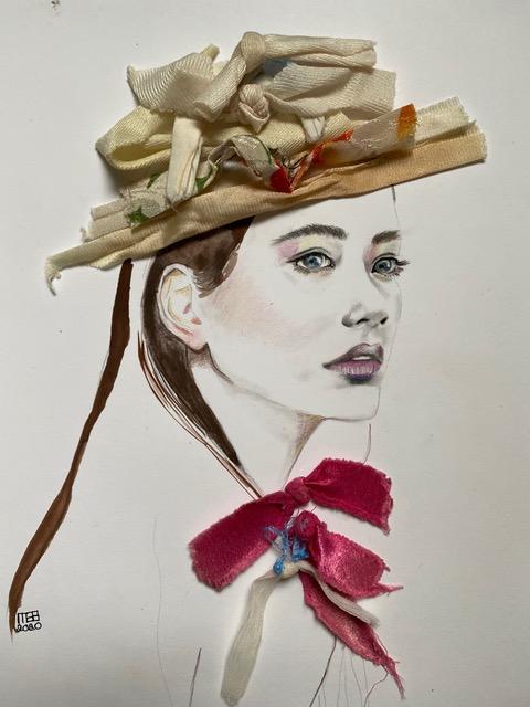 Fashion collage model hoed